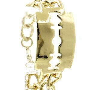 Jewelry - Metal Razor blade Gold Chunky Cut Out Chain Bracel